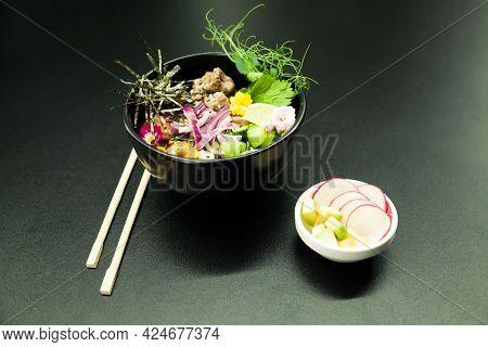Poke Salad With Beef In A Bowl. Ingredients Beef, Nameko Mushrooms, Cherry Tomatoes, Rice, Cucumber,
