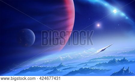 Science Fiction Vector Illustration Of A Spaceship Is Flying From An Unknown Planet In The Universe
