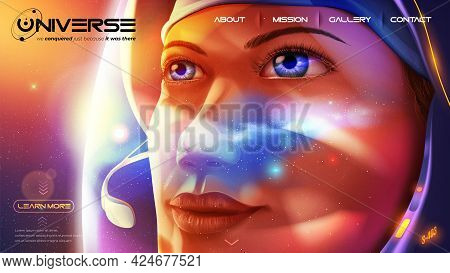 Science Vector Illustration Of A Female Astronaut Is Looking Further Away With Determination Eyes Wi