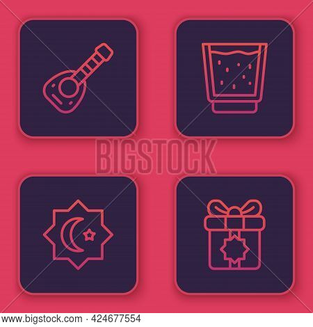 Set Line Lute, Octagonal Star, Glass With Water And Gift Box. Blue Square Button. Vector