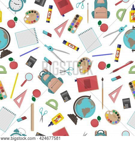 School Seamless Pattern Consisting Of School Stationery Such As A Backpack, Notebook, Globe, Compass