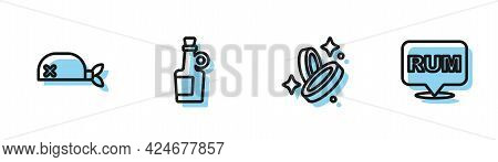 Set Line Pirate Coin, Bandana For Head, Alcohol Drink Rum And Icon. Vector