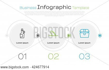 Set Line Alcohol Drink Rum, Shark Fin Ocean Wave And Antique Treasure Chest. Business Infographic Te