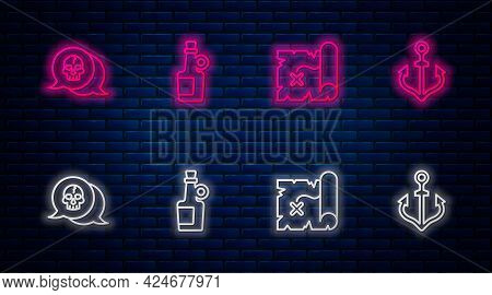 Set Line Alcohol Drink Rum, Pirate Treasure Map, Skull And Anchor. Glowing Neon Icon On Brick Wall.