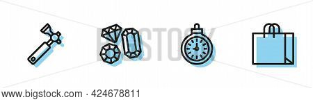 Set Line Pocket Watch, Jewelers Lupe, Gem Stone And Shopping Bag Jewelry Icon. Vector