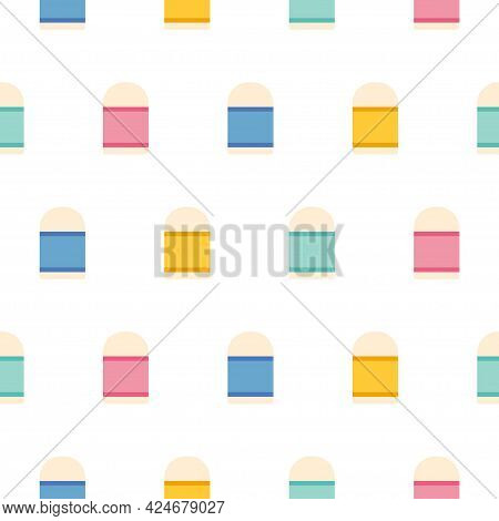 Eraser Icon Pattern Seamless Isolated On White Background. Editable Flat Eraser Icon.