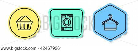 Set Line Basin With Soap Suds, Washer And Towel On Hanger. Colored Shapes. Vector