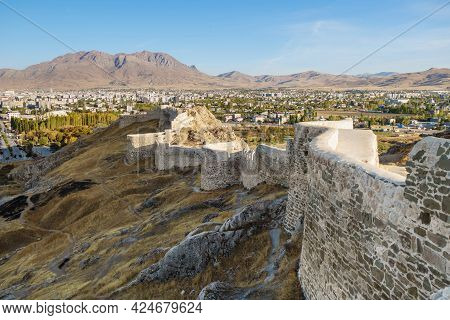 Walls And Towers Of Van Fortress, Van, Turkey. Castle Was Founded In 9 Century Bc By Urartians. Mode