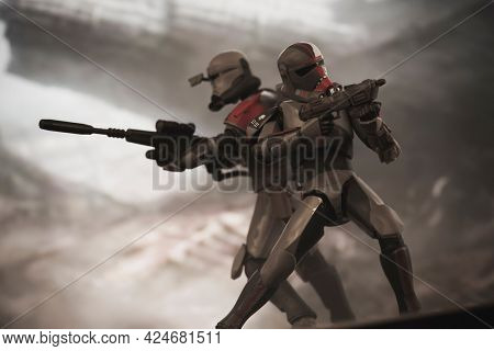 JUNE 23 2021: Disney Plus Star Wars The Bad Batch, Clone Force 99 - Hunter and Crosshair in battle  - Hasbro action figure