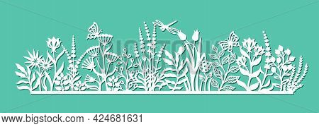 Decorative Panel With Flowers. Summer Meadow With Grass, Leaves, Buds, Berries, Herbs, Butterflies,