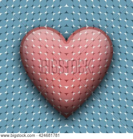 Heart Beating Abstract Concept. Vector Trippy Moving Optical Illusion.
