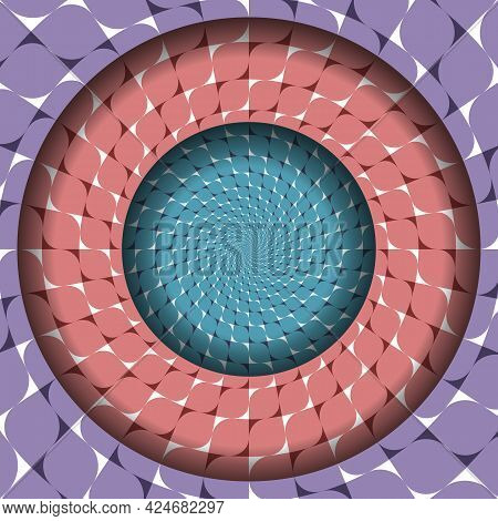Abstract Round Frame With Moving Purple, Red And Blue Patterned Surfaces. Optical Illusion Dizzy Bac