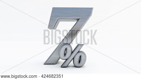 3d Render Of 7 Percent Off, Metal Seven Percent Isolated On A White Background.