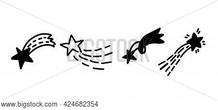 Doodle Comets And Stars Hand Drawn Set. Isolated Vector Illustration