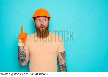 Incompetent Worker With Wondered Expression Indicates Something