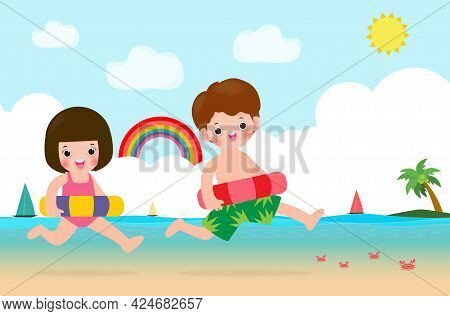 Happy Kids In Swimming Clothes With Inflatable Toys On Beach, Children With Inflatable Buoy Jumping