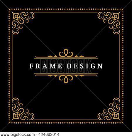 Vintage Frame Border Ornament And Vignettes Swirls Decoration With Divider Template Vector Illustrat