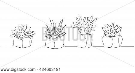 One Continuous Line Drawing Of House Plants In Pots. Eco Interior With Succulents For Apartment In S