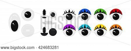Plastic Eyes For Toys, Puppet And Dolls Character Isolated On White Background.
