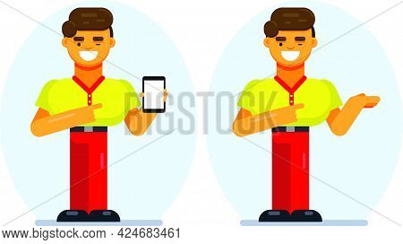 Advertisement For Mobile Application. Excited Flat Designed Guy Showing Smartphone With Empty Screen