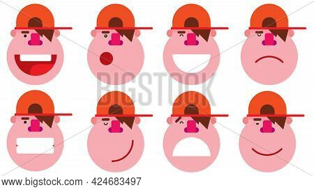 Set Of Male Facial Different Expressions. Isolated Boy Face With Different Expressions. Emotions Con