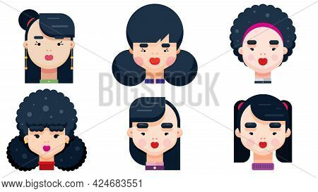 Set Of Woman Faces With Various Hairstyle. Collection Of Young Girls Portraits. Different Avatars Of