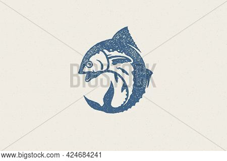 Fresh Tuna Fish Silhouette For Food Market And Seafood Restaurant Hand Drawn Stamp Effect Vector Ill