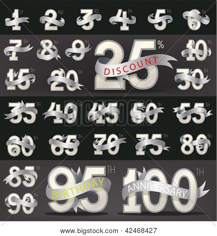 Set of numbers with stylish ribbon for birthday, anniversary, discount and other message. poster