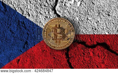 Bitcoin Crypto Currency Coin With Cracked Czech Flag. Crypto Restrictions