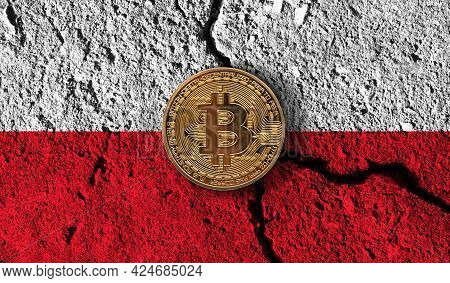 Bitcoin Crypto Currency Coin With Cracked Poland Flag. Crypto Restrictions