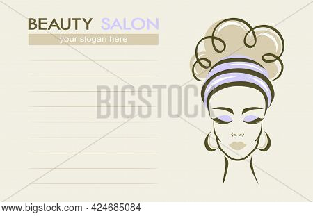 Beauty Salon Business Card. Face Of A Beautiful Woman On A Light Beige Background, Lines For Text. T