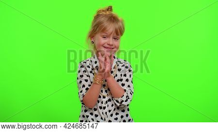 Villain Idea. Sneaky Playful Blonde Child Girl Conspiring Scheming, Thinking Over Tricky Plan With C