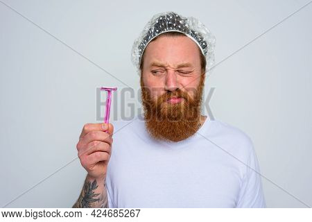Doubter Man Wants To Adjust The Beard With A Razor Blade