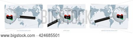 Blue Abstract World Maps With Magnifying Glass On Map Of Libya With The National Flag Of Libya. Thre