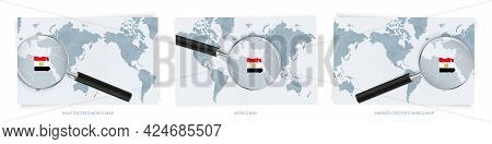 Blue Abstract World Maps With Magnifying Glass On Map Of Egypt With The National Flag Of Egypt. Thre