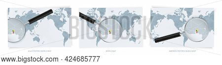 Blue Abstract World Maps With Magnifying Glass On Map Of Benin With The National Flag Of Benin. Thre
