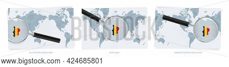 Blue Abstract World Maps With Magnifying Glass On Map Of Chad With The National Flag Of Chad. Three