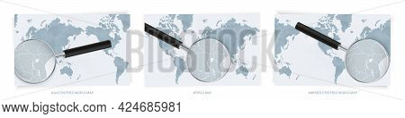 Blue Abstract World Maps With Magnifying Glass On Map Of Burundi With The National Flag Of Burundi.
