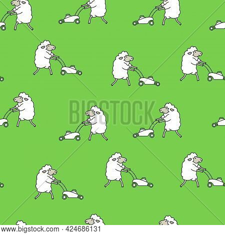 Many Cheerful White Sheep Mows The Green Grass With A Lawn Mower And Makes Lawn. Cute Cartoon Seamle