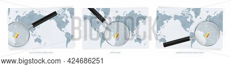 Blue Abstract World Maps With Magnifying Glass On Map Of Congo With The National Flag Of Congo. Thre