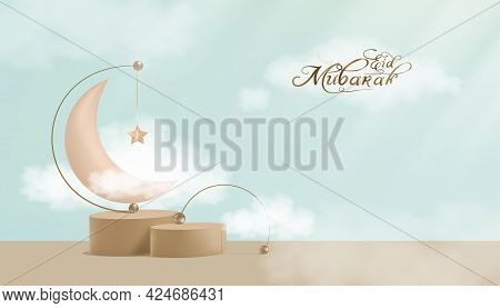 Eid Mubarak Greeting Card With Pink Gold Crescent And Star Hanging Podium With Fluffy Cloud On Blue