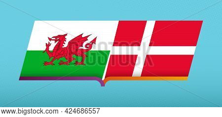 Football Icon Of Wales Versus Denmark In Football Competition. Vector Icon.