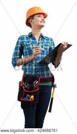 Young Building Inspector In Workwear Isolated On White Background. Female Construction Worker In Saf