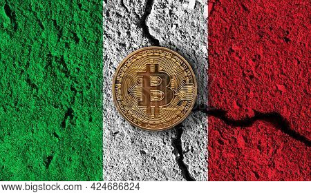 Bitcoin Crypto Currency Coin With Cracked Italy Flag. Crypto Restrictions