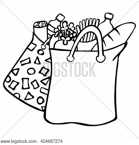 Grocery Bags With Products From A Store Or Market. Isolated On White Background. Black Outline, Hand