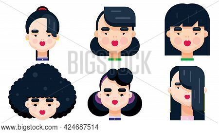 Vector Flat Design Illustration Of Woman Different Hairstyles. Stylish Modern Female Haircut: Long H