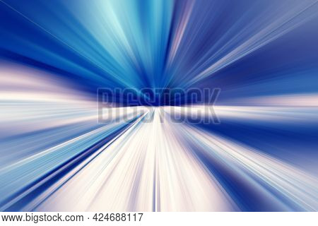 Abstract Surface Of Radial Blur Zoom  In Blue, Gray And White Tones. Spectacular Blue-gray Backgroun