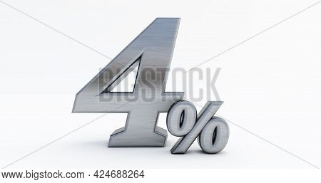 3d Render Of Metal Four ( 4% ) Percent On A White Background.