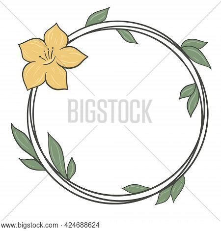 Circular Frame With Leaves And Flower, Vector. Minimalistic Headband. Rim With Botanical Elements. H