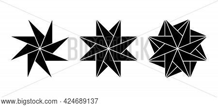 Pinwheel Shaped Eight-pointed Stars Made Of Triangles. Geometric Patterns Create The Impression Of R